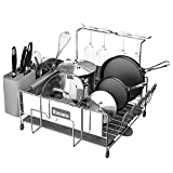 Kitsure Dish Drying Rack, Large Kitchen Dish Rack and Drainboard Set with Easy Installation, Durable Stainless Steel Dish Rack for Counter with Drainage and Anti-Slip Silicone Caps