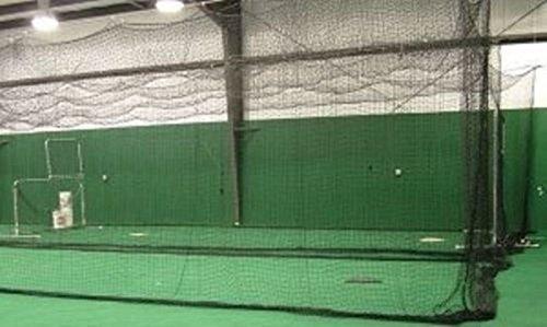 Jones Sports Batting Cage Net 14' H x 14' W x 70' L #42 HDPE (60PLY) with Door Heavy Duty Baseball