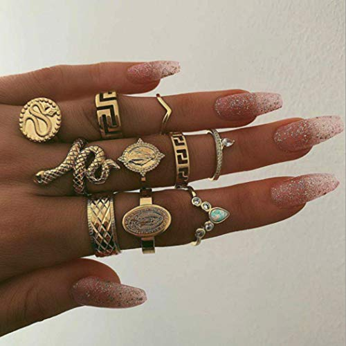 Mayelia - Set di anelli a forma di serpente in oro con cristalli impilabili, per donne e ragazze, 10 pezzi