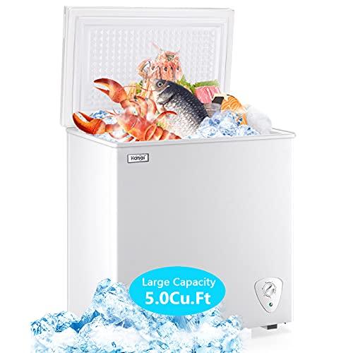 Chest Freezer Deep Freezer for Garage 5.0 Cu.Ft Compact Freezer Only Adjustable 7 Thermostat and Removable Basket Energy Saving for Garage Basement Dorm Apartment Kitchen Business