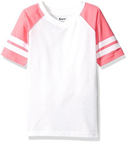 Soffe Girls' Big Retro Football Tee Jersey, White/Neon Pink, Large