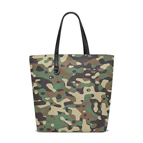 WJJSXKA Women Army Brown Camouflage Forest Green Handle Satchel Handbags Shoulder Bag Tote Purse Messenger Bags