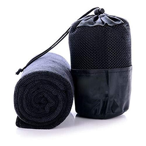 YANODA Toalla De Secado Rápido Portátil Toalla De Microfibra De Belleza Popular con La Bolsa Deportes Al Aire Libre Yoga Toallas De Viaje De Camping Transpirable (Color : Black)