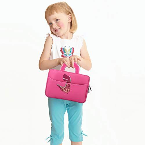 MoKo 7-8 Inch Kids Tablet Sleeve, Portable Neoprene Carrying Case Bag Fits Fire HD 8 Kids Edition 2018/2017, Fire 7 Kids Edition, Fire HD 8 Plus/Fire HD 8 2020, Fire 7, Kindle E-Reader, Dinosaur Pink