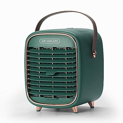 QqHAO 2 in 1 Luftkühler, Portable Desktop-Luftbefeuchter Klimaanlage Ventilator-Wasser-Kühlspray Fan Retro Haushalt Kleiner Ventilator,Grün