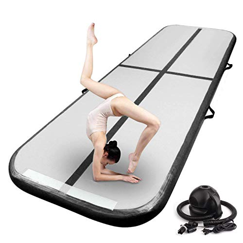 FBSPORT Inflatable Air Gymnastics Mat Training Mats 4/8 inches Thickness Gymnastics Tracks for Home Use/Training/Cheerleading/Yoga/Water with Pump