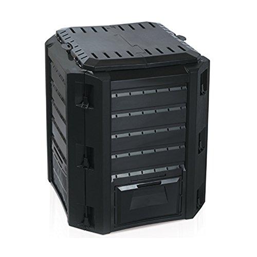Mojawo Komposter Composter Kompostierer 380L Schwarz Top Qualität Deckel verschließbar Zwei Entnahmeklappen