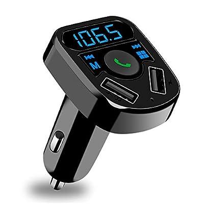 SOOTEWAY Transmetteur FM Bluetooth, Kit Voiture Émetteur FM sans Fil Adaptateur Radio Lecteur MP3 avec Appel Main Libre, Dual USB Ports 5V/2.4A & 1A Chargeur Voiture, Soutien Carte SD/Clé USB
