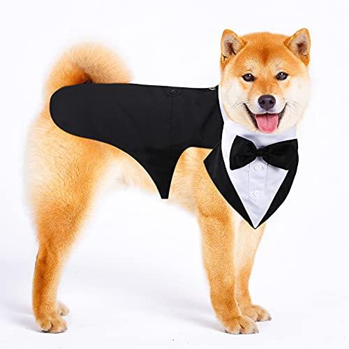Esmoquin de Perro Set de Traje y Bandana de Perro Esmoquin Formal de Perros Traje de Fiesta Boda de Mascotas Camisa de Pajarita de Boda para Disfraces Cumpleaños Halloween (M)