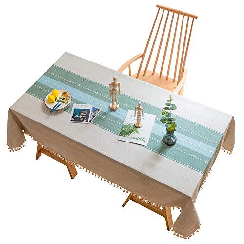 Tischdecke Baumwolle Leinen Einfacher Stil Tischwäsche Tischläufer mit Quaste entworfenen Streifen Spleißen Gartentischdekoration Home Küche Dekoration