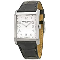 Baume Et Mercier Silver Dial Black Leather Men's Watch (10154)