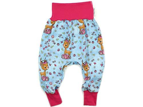 Kleine Könige Pumphose Baby Mädchen Hose · Modell Rehkitz Lovely Deer, pink · Ökotex 100 Zertifiziert · Größe 86/92