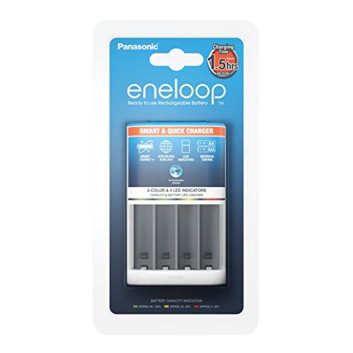 Panasonic eneloop, Intelligentes Schnellladegerät, für 1-4 Ni-MH Akkus AA/AAA, mit LED-Anzeige und Einzelschachtüberwachung