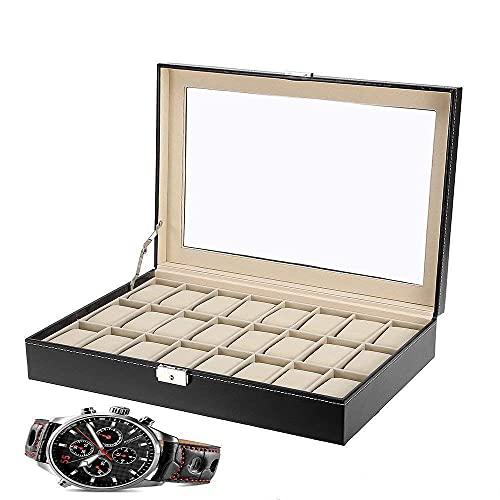 LGR Caja de joyería Caja de Reloj Tapa de Vidrio Maleta de 24 bits Caja de Almacenamiento de exhibición de Cuero sintético Cajas de joyería portátiles Hombres Mujeres Regalo