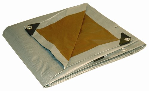 20x20 Multi-Purpose Silver/Brown Heavy Duty DRY TOP Poly Tarp (20'x20')