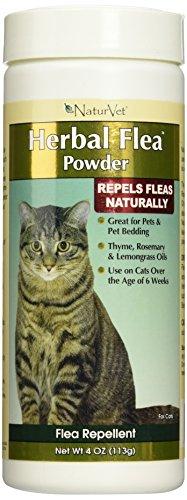 NaturVet Herbal Flea Pet Powder for Cats, 4 Ounce