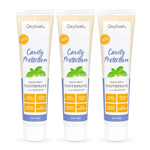 Oxyfresh Cavity Protection Fresh Mint Fluoride Toothpaste | Low Abrasion Anticavity Toothpaste for Sensitive Teeth amp Gums – AllDay Fresh Breath 35 oz Tubes