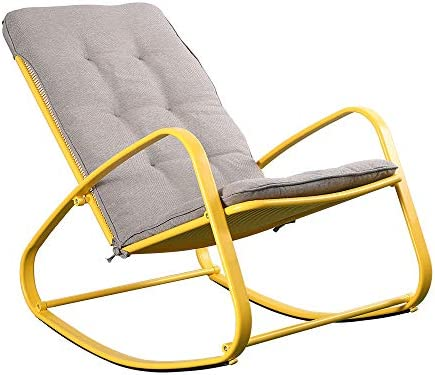 Best eclife Patio Rocking Chair Outdoor Padded Steel Rocker Chairs Removable Cushion (Yellow)