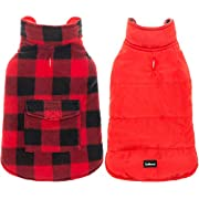 SCENEREAL Dog Winter Clothes Reversible Jacket Warm Coat Windproof Waterproof Plaid Vest Christmas Suit for Small Medium Large Dogs Pets Cold Weather Wearing