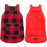 SCENEREAL Dog Winter Clothes Reversible Jacket Warm Coat Windproof Waterproof Plaid Vest Christmas Suit for Small Medium Large Dogs Pets Cold Weather Wearing, Red Black XL