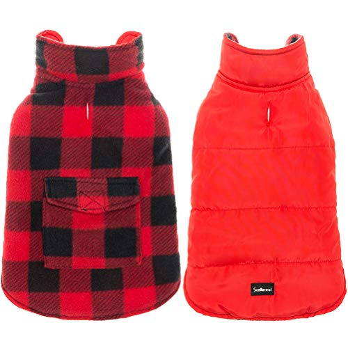 SCENEREAL Dog Winter Clothes Reversible Jacket Warm Coat Windproof Waterproof Plaid Vest Christmas Suit for Small Medium Large Dogs Pets Cold Weather Wearing, Red Black M