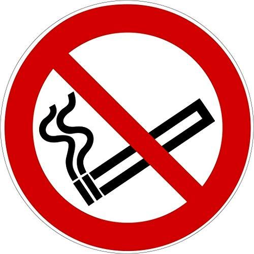 Aufkleber Rauchen verboten, Rauchverbot Nichtraucher Piktogramm UV-Schutz (Outdoor geeignet), Aussenklebend für Büro, Werkstatt, Gaststätte, Garage etc (1, Ø 9,5 cm)