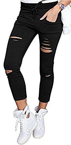 Live It Style It Pantaloni jeggings skinny da donna elasticizzati, strappati Black Large