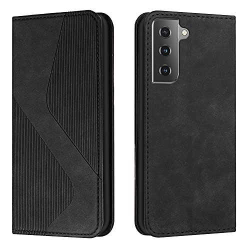 Amlope Funda para Samsung Galaxy S21FE, Funda con Tapa de Cuero, Cartera de adsorción automática magnética Oculta Case con Ranura para Tarjetas Estuche de Cuero PU