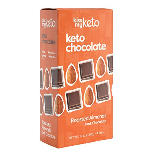Kiss My Keto Low Carb Keto Chocolate, Roasted Almonds Keto Snack (4X 3oz Bars) A Perfect Sweet Treat with MCT Oil for Ketogenic Diet Support Sugar-Free, Keto Friendly Foods No Artificial Ingredients