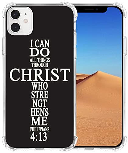 Schutzhülle für iPhone 12 Mini 5G, TPU, transparent, robust, Schutz, kompatibel mit iPhone 12 Mini 5G, christliche Sprüche, Bibelversen-Thema, I Can Do All Things Through Christ Who Strengthens Me