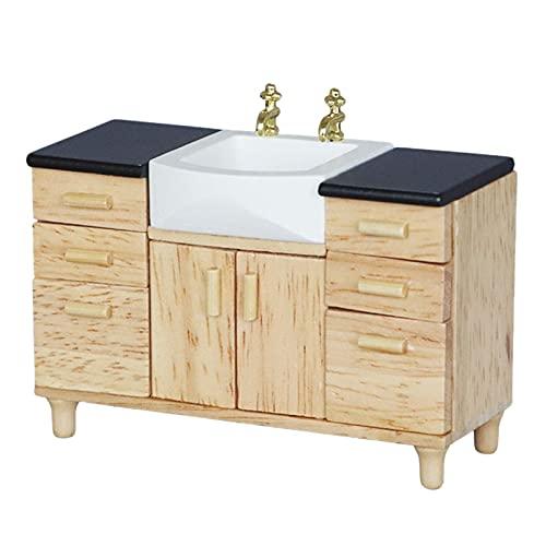 Uniqal 1:12 casa de muñecas Muebles miniatura Baño Fregadero de cocina con...