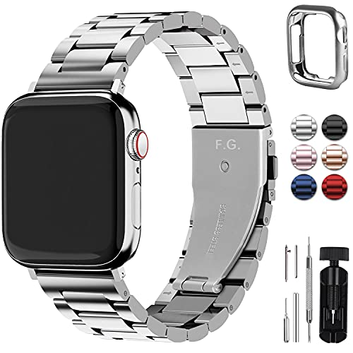 Fullmosa Acero Inoxidable Correa 38mm 40mm 41mm 42mm 44mm 45mm Compatible Apple Watch/iWatch Serie SE, Serie 7/6/5/4/3/2/1, Apple Watch Correa, Plata 42mm/44mm/45mm