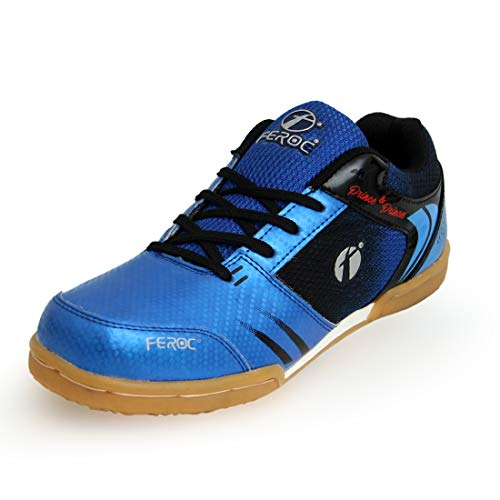 Feroc King Blue Black Non-Marking Unisex Badminton Shoe (Blue Black, Numeric_7)