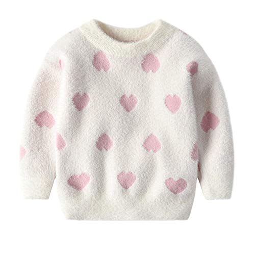 Baby Girl Cute Sweaters Autumn Winter New Girls Heart Knit Velvet Sweater Children Long Sleeve Soft Warm Tops Kids Clothes Pink 4T