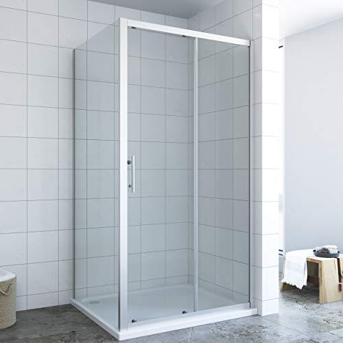 AQUABATOS® Duschkabine Eckeinstieg 120x80 cm mit Einfaches Rollen Befestigungssystem Schiebetür und Seitenwand | Duschtür Schiebetür breit 120cm, Seitenwand breit 80cm, Höhe 185cm, 6mm Echtglas