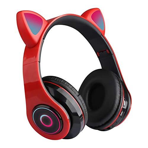 Auriculares Bluetooth con Oreja De Gato, Auriculares Plegables Inalámbricos con Luz LED Montados En La Cabeza, para iPhone iPad Smartphones Laptop (Rojo)