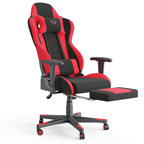 Vicco Gaming Chair Alpha Racing Stuhl Sessel Bürostuhl Chefsessel Drehstuhl Fußstütze (Schwarz/Rot)