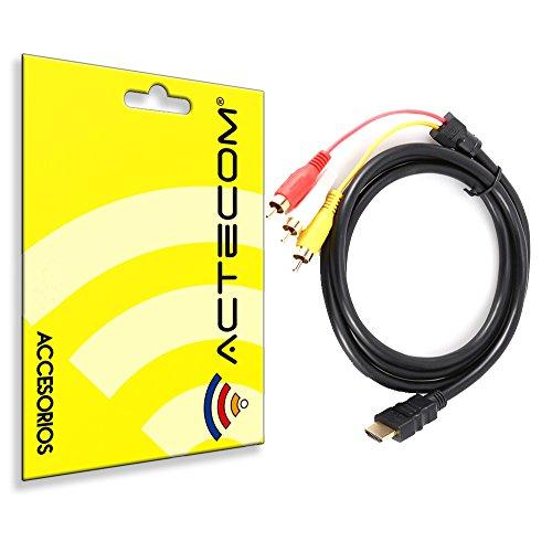 actecom® Cable HDMI A 3 RCA Video Y Audio Consola PS3 PS2 TELEVION TV Imagen 1,5 Metros Chapado Oro