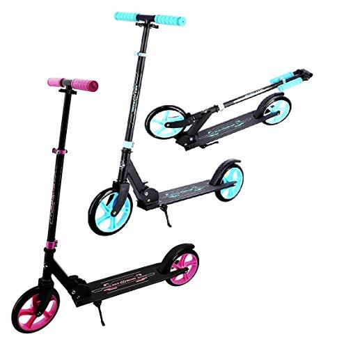 NILS Scooter Roller Kinder & Erwachsene Cityroller Klappbar   Kinderroller ABEC7   Tretroller mit Big Wheel Ø 200mm PU Rollen Fußständer (Blau)