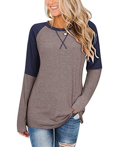 II ININ Women's Crew Neck Long Sleeve Raglan T Shirts Color Block Baseball Tunic Tops Casual Cute Fall Blouses Tees(Coffee,S)