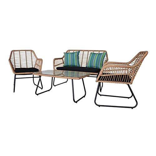 Sets Wicker Rattan Garden Furniture 4 Piece Table Sofa Chair Patio Outdoor Conservatory Indoor Tan