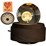 Amperer 3D Crystal Ball Music Box Dandelion Luminous Rotating Musical Box with Projection LED Light and Wood Base Best Gift for Birthday Christmas (6# Dandelion)