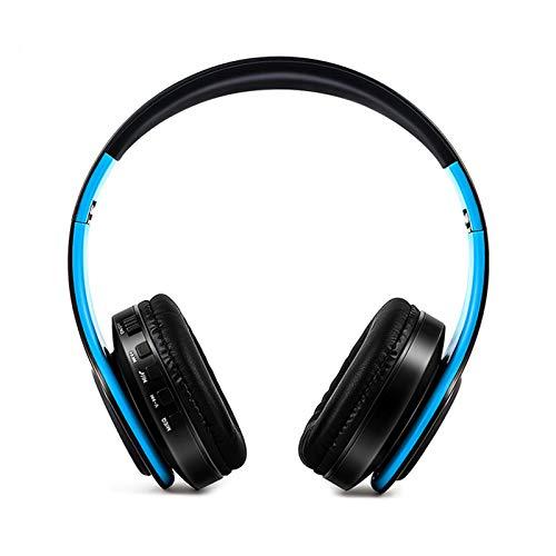 GFEIW Auriculares Inalámbricos, Auriculares Bluetooth, Auriculares Estéreo con Micrófono para Teléfono Celular, PC, Tableta, TV, Ajuste para Adultos para Niños,Black Blue