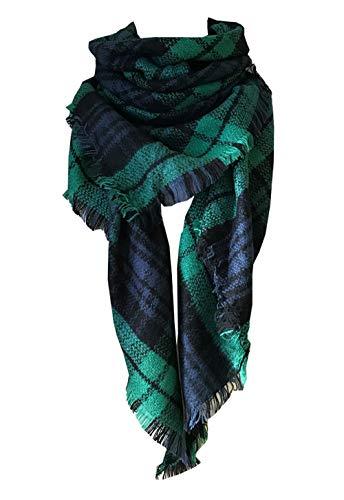 Wander Agio Womens Warm Scarf Triangle Shawls Large Scarves Stripe Plaid Fichu Dark Green Colour 3