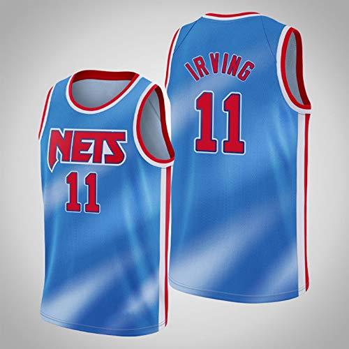Brooklyn Nets Uniforme de baloncesto Kyrie Irving, 11 camiseta de baloncesto de leyenda para hombre de la nueva temporada, camiseta sin mangas con ropa de hip hop 90S,Azul,S