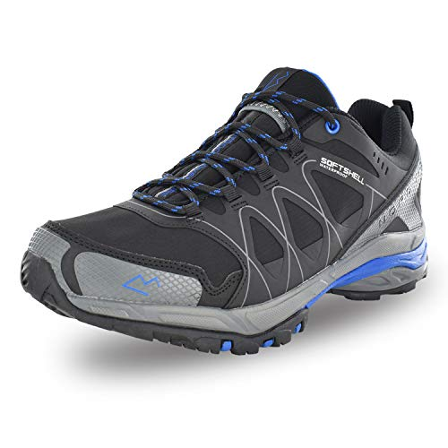 Nord Trail Mt. Hood Low Men's Hiking Shoes, Waterproof Hiking Shoe, Breathable, Lightweight, High-Traction Grip (10, Black/Royal Blue)