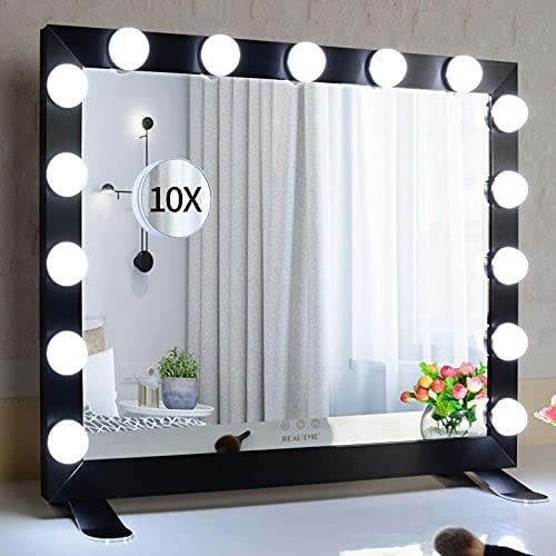 FYHpet Espejo de Hollywood con Luces, Espejo de vanidad iluminada con Bombillas de 15 atenuadoras con tablón de Mesa o Espejo de Pared (68 / 56cm, Negro)