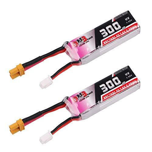 FancyWhoop 2pcs 300mAh 2S 80C / 160C 7.6V LiPo Batería HV 2S LiHv Batería con XT30 Plug para Micro FPV Racing Drone Brushless Quadcopter