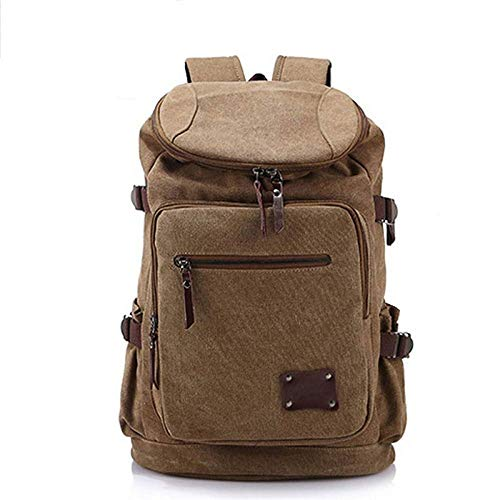 YANGYUAN Casual Backpack Retro Unisex Casual Backpack Canvas Backpack Bag Satchel Hiking Backpack Travel Outdoor (Color : Khaki)