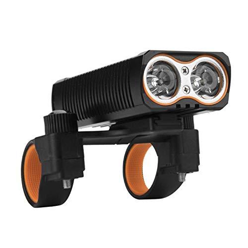 DAUERHAFT Luz de Bicicleta Impermeable con Bombilla Doble T6 incorporada en Dos baterías 18650, lámpara de Bicicleta con rotación de 360 Grados, luz de Bicicleta LED de 2000 LM, para Ciclismo.